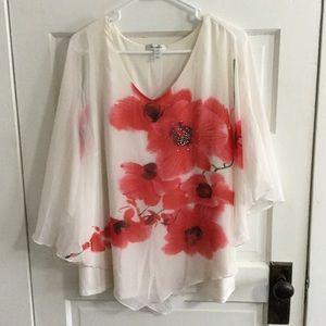 Dress Barn Blouse Sheer Rhinestones Women's 1X